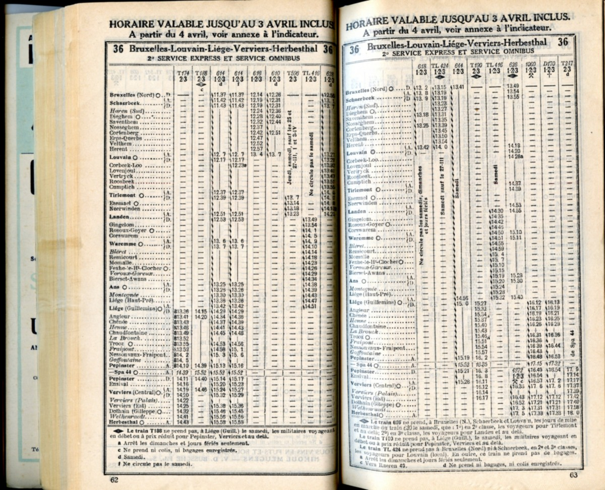 Ligne 36 . 3 (Horaire 1937)