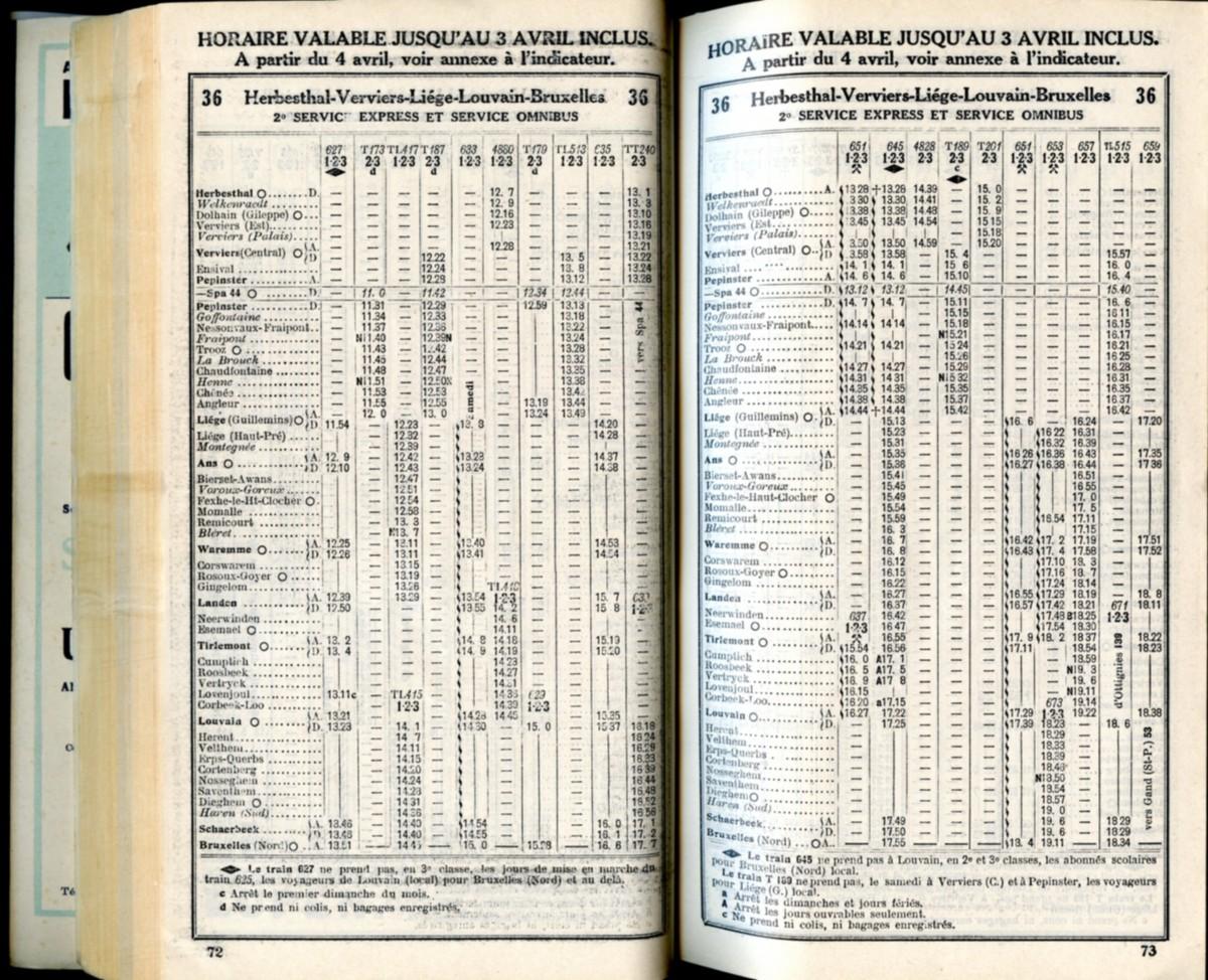 Ligne 36 . 8 (Horaire 1937)