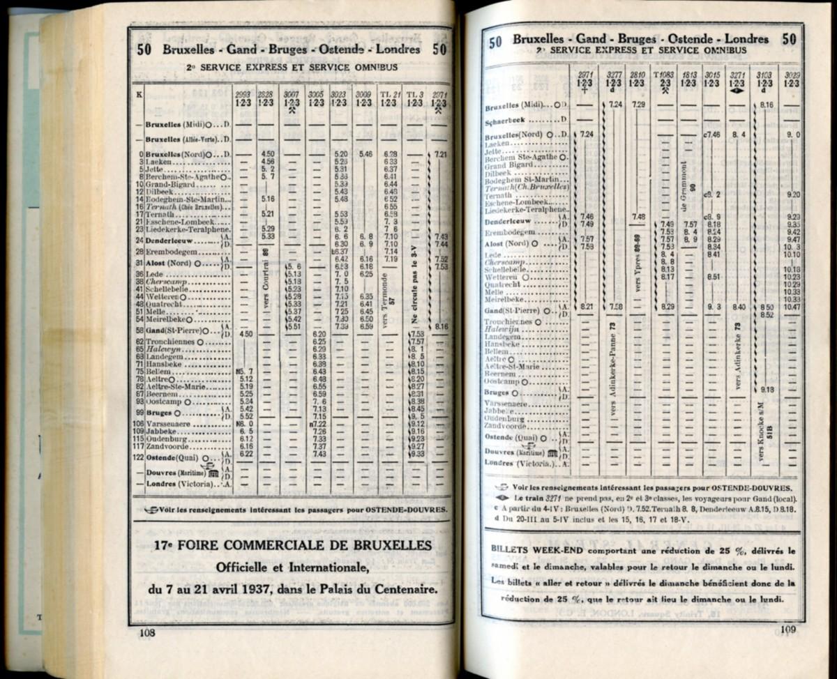 Ligne 50 (3) - Horaire 1937