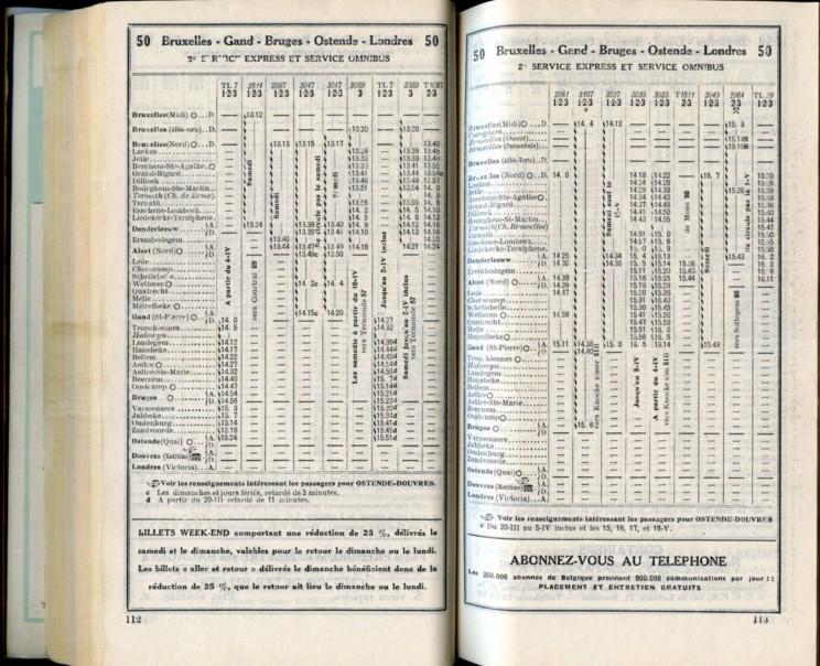 Ligne 50 (4) - Horaire 1937