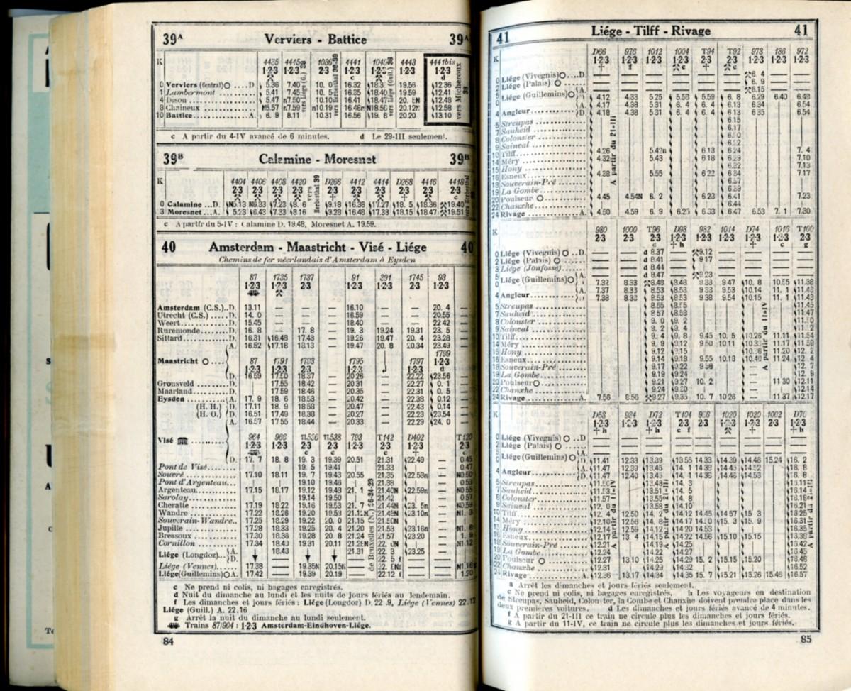 Lignes 39A - 39B - 40 - 41 (Horaire 1937)