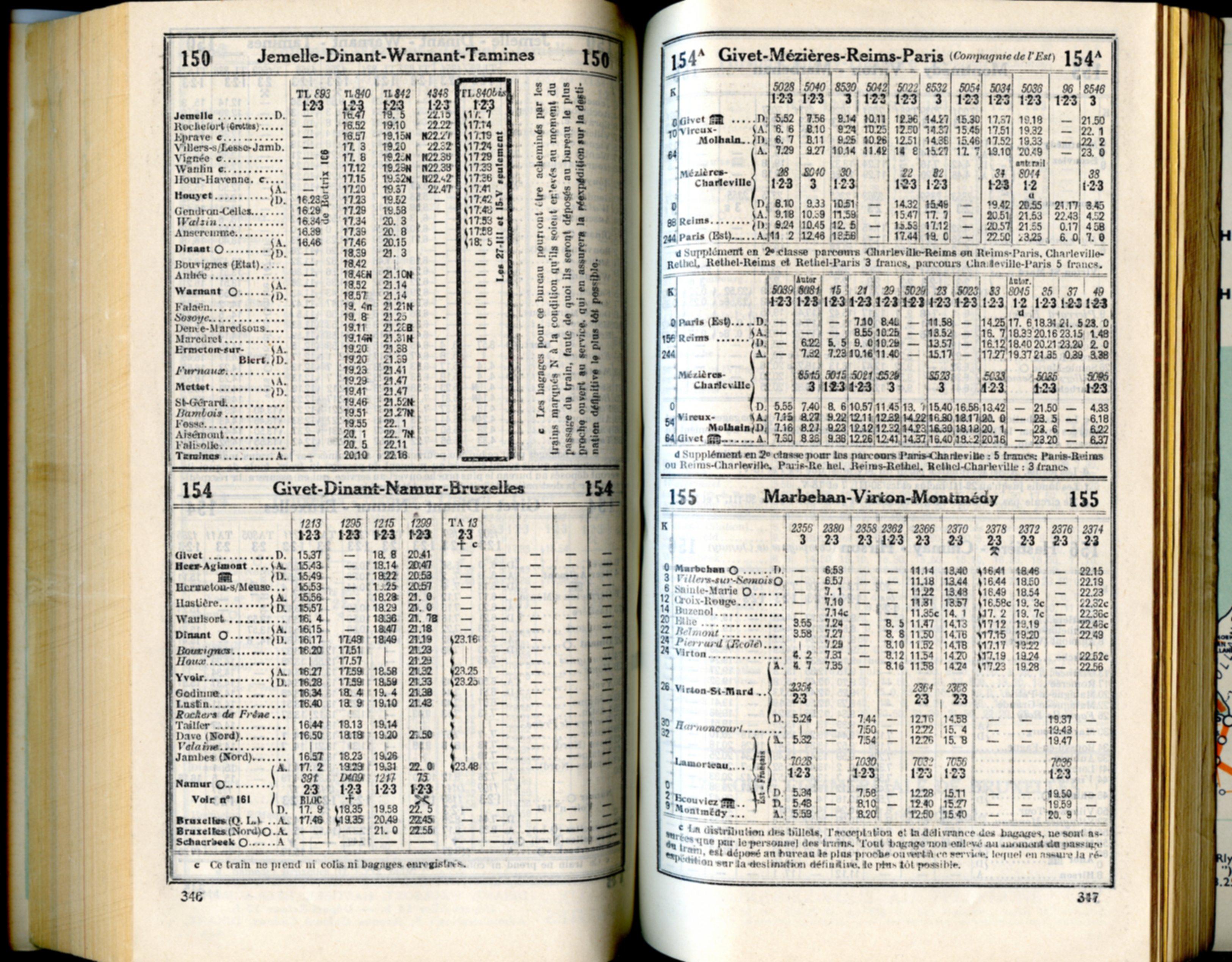 Lignes 150 154 154A 155 (Horaire 1937)