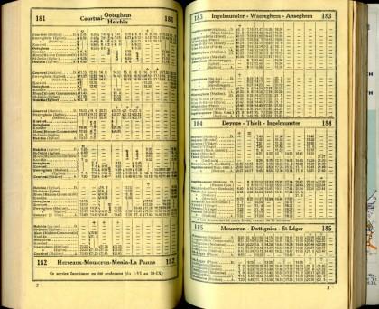 Lignes 181 - 182 - 183 - 184 - 185 (Autobus - Horaires SNCB 1937)