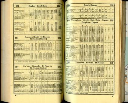 Lignes 186 - 197 - 198 - 199 - 200 (Autobus - Horaires SNCB 1937)