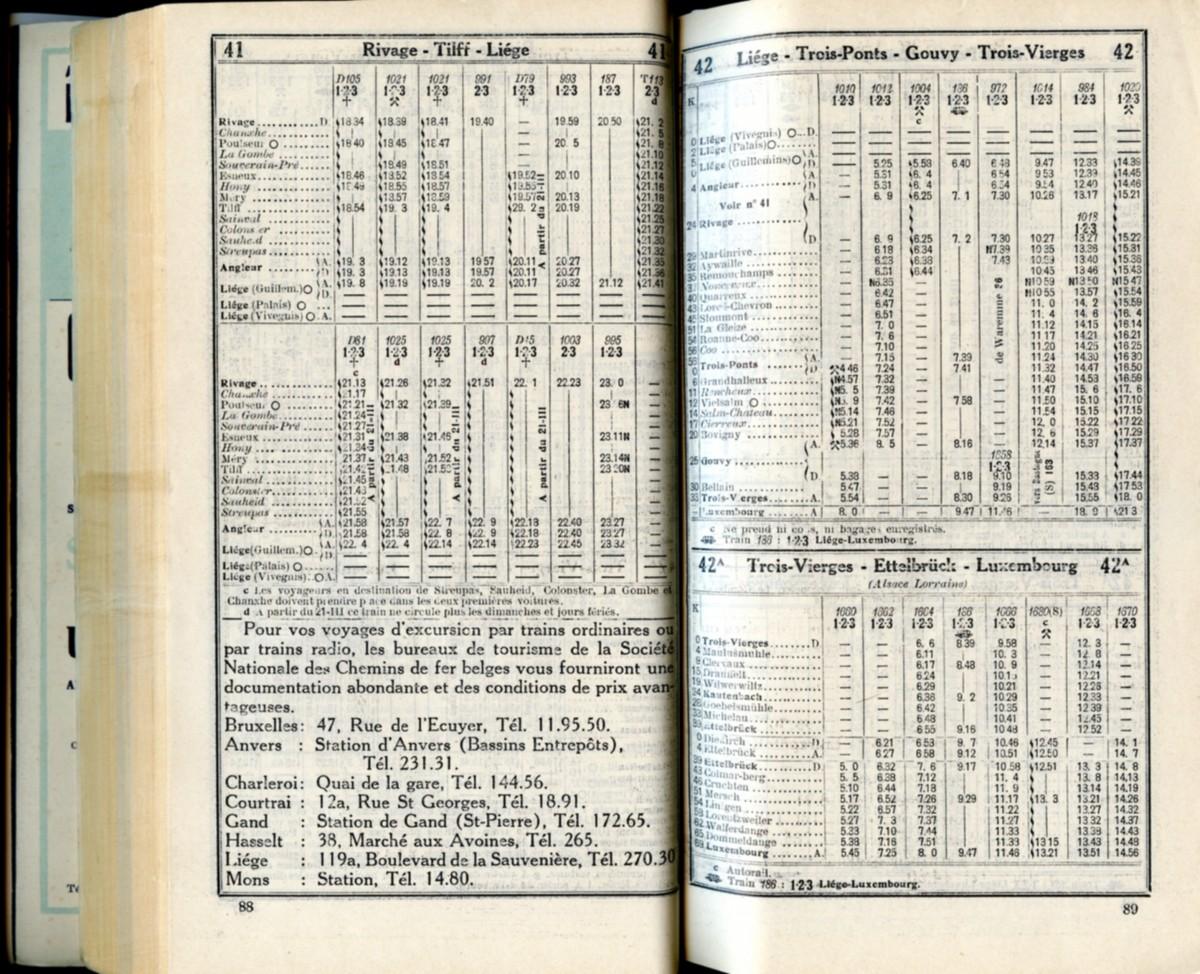 Lignes 41 - 42 - 42A (Horaires 1937)