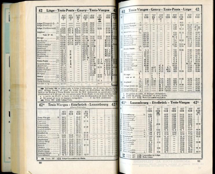 Lignes 42 - 42A (Horaires 1937)
