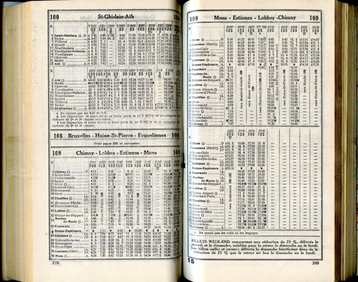 Lignes 100 - 108 - 109 (Horaire 1937)
