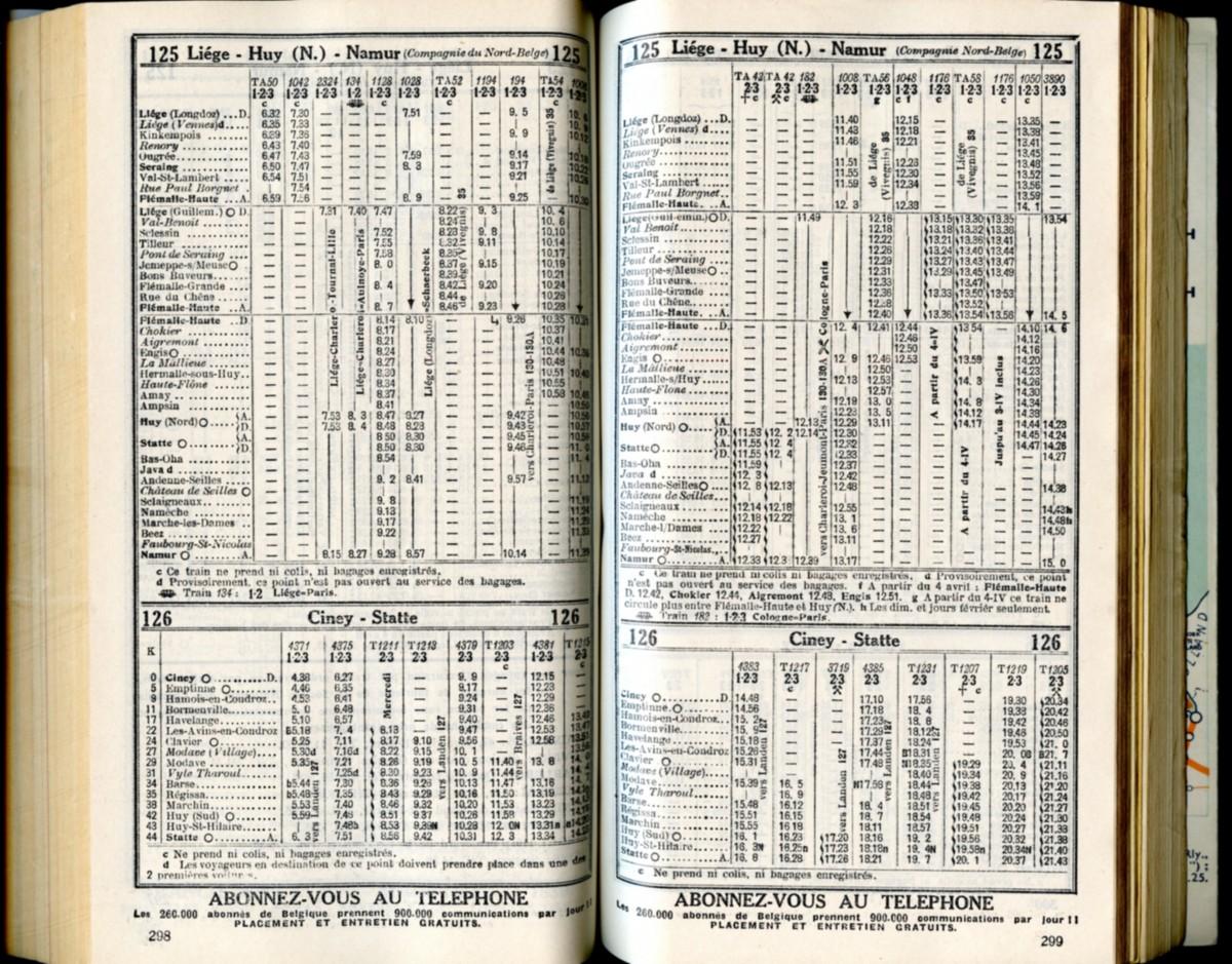Lignes 125 - 126 (Horaire 1937)