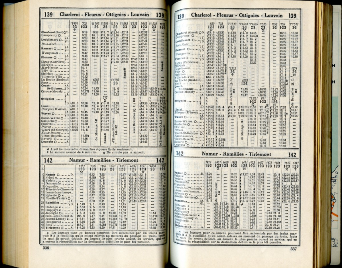 Lignes 139 - 142 (Horaires 1937)