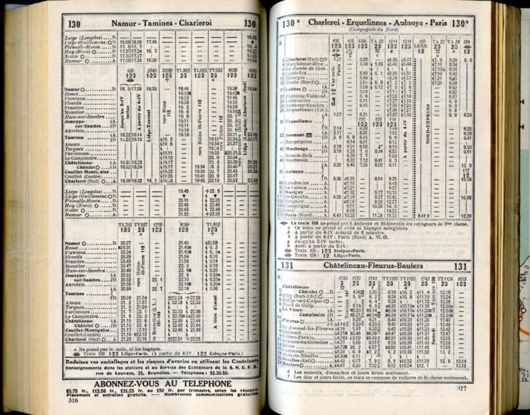 Lignes 130 - 130A - 131 (Horaire 1937)
