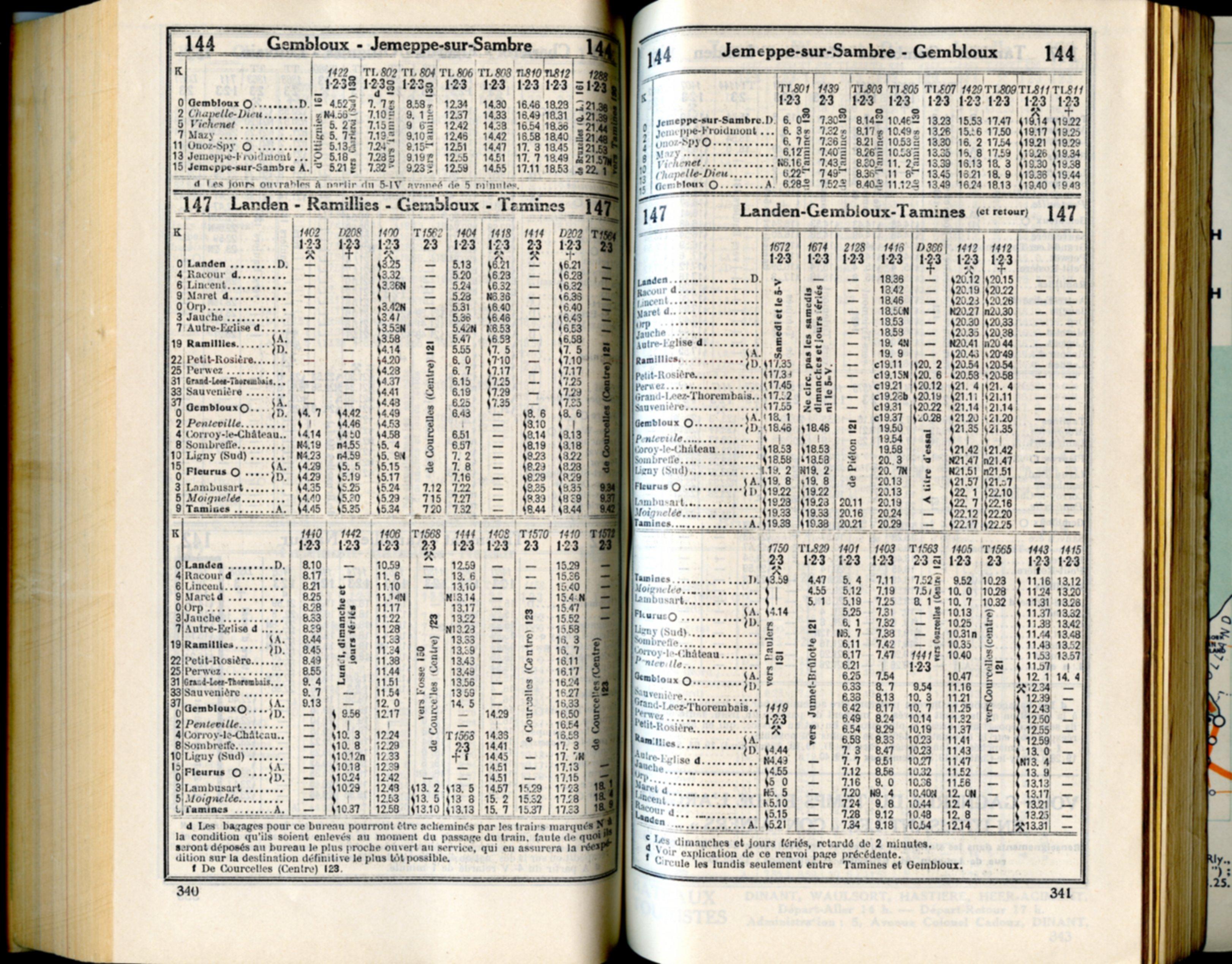 Lignes 144 - 147 (Horaire 1937)