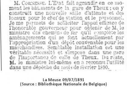 La Meuse 09/07/1891 (Source : Bibliothèque Nationale de Belgique)