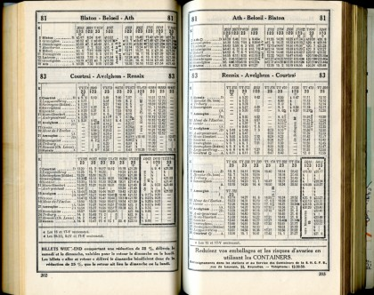 Lignes 81 - 83 (Horaire 1937)