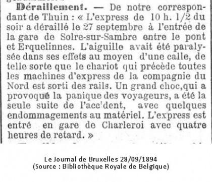 Le Journal de Bruxelles 28/09/1894 (Source : Bibliothèque Royale de Belgique)