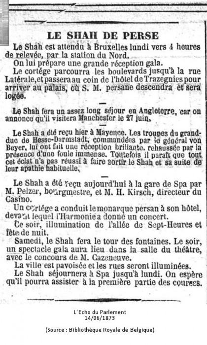 Echo du Parlement 14/06/1873 (Source : Biblothèque Royale de Belgique)