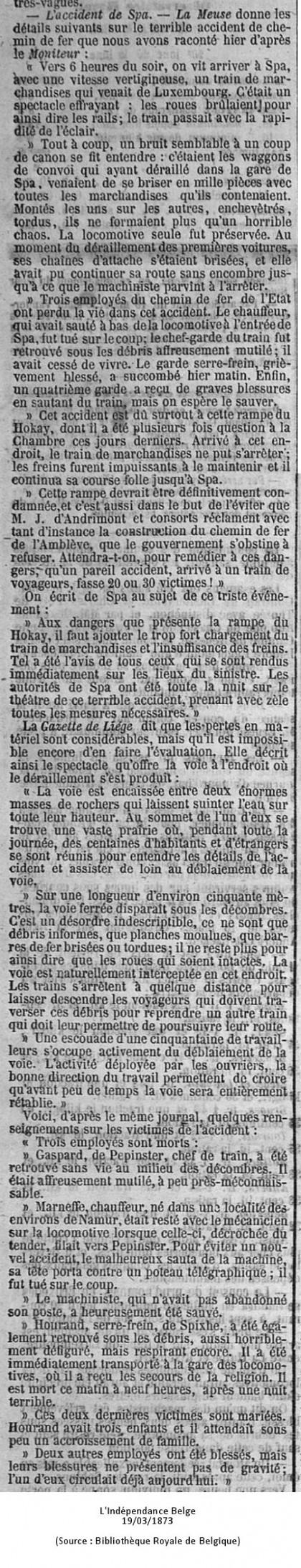 Indépendance Belge 19/03/1873 (Source : Bibliothèque Royale de Belgique)