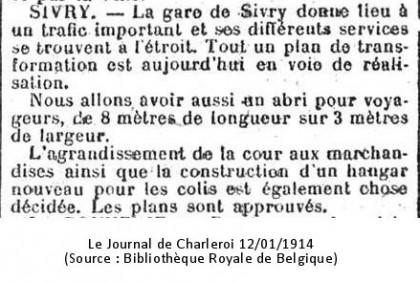 Journal de Charleroi 12/01/1914 (Source : Bibliothèque Royale de Belgique)