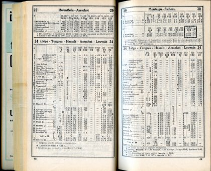Lignes 29 - 30 - 34 (Horaires 1937)