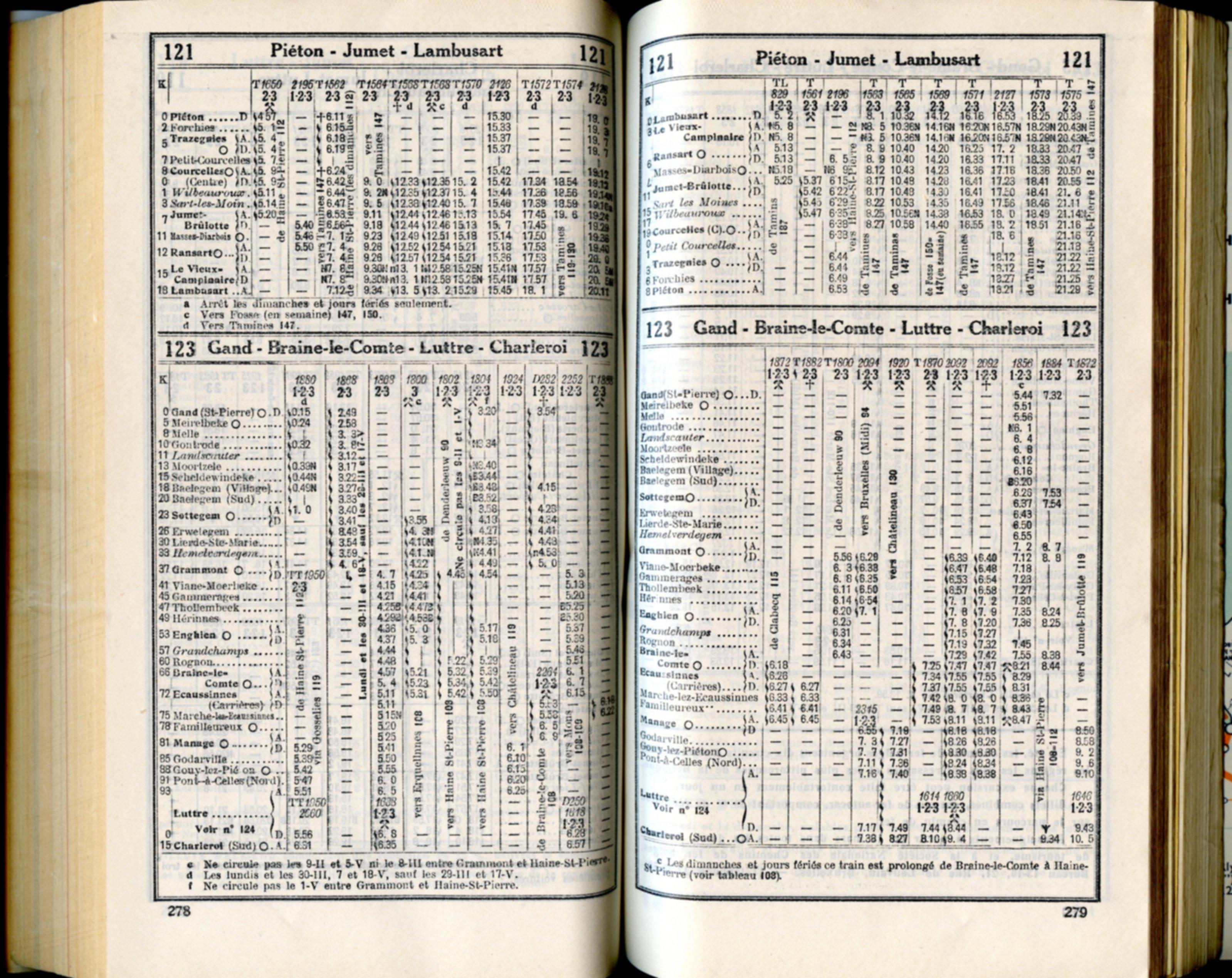 Lignes 121 - 123 (Horaires 1937)