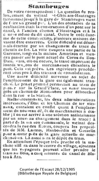 Stambruges - Courrier de l'Escaut - 28/12/1905