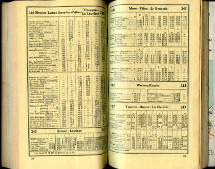 Lignes bus 240 - 241 - 242 - 243 (Horaires 1937)