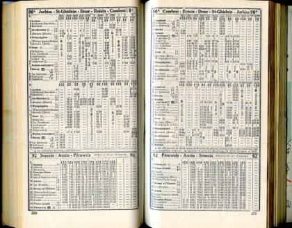 Lignes 90A - 92 (Horaires 1937)