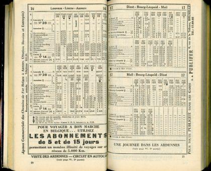 Horaire 1933 - Lignes 16 et 17