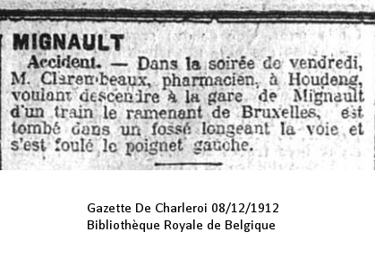 Gazette de Charleroi 08/12/1912 Bibliothèque Royale de Belgique