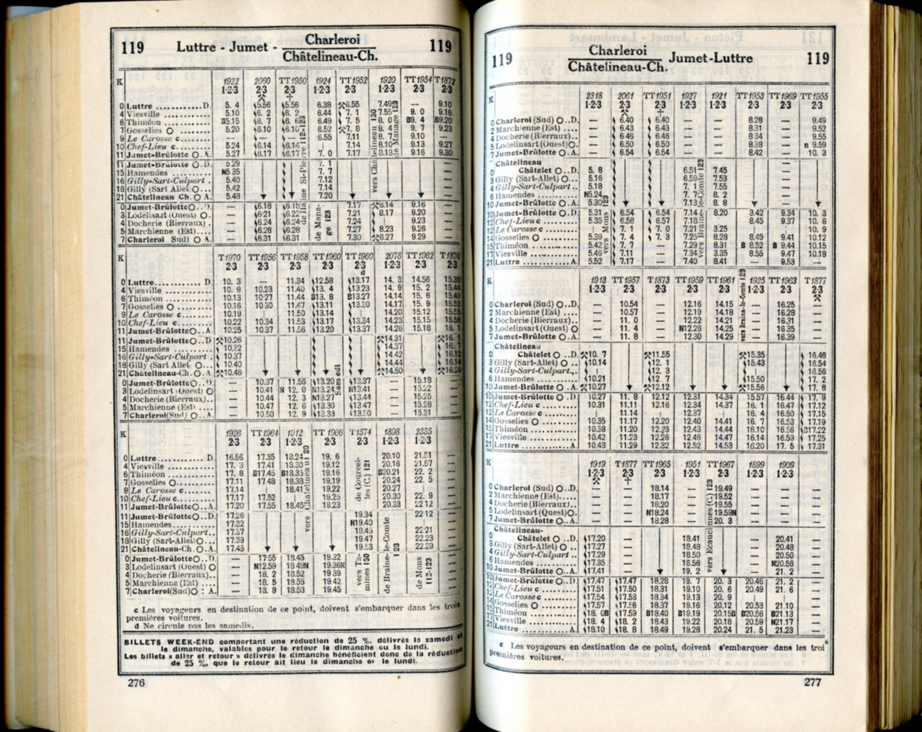 Horaire 1937 - Ligne 119
