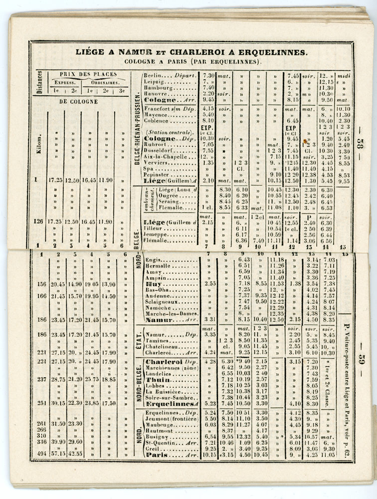 Horaire 1862