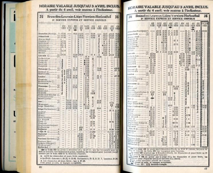 Ligne 36 . 5 (Horaire 1937)