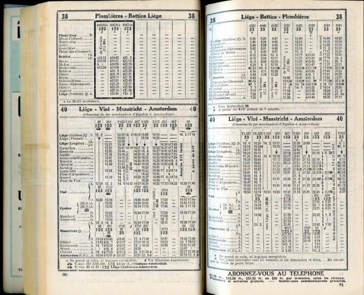 Lignes 38 - 40 (Horaire 1937)