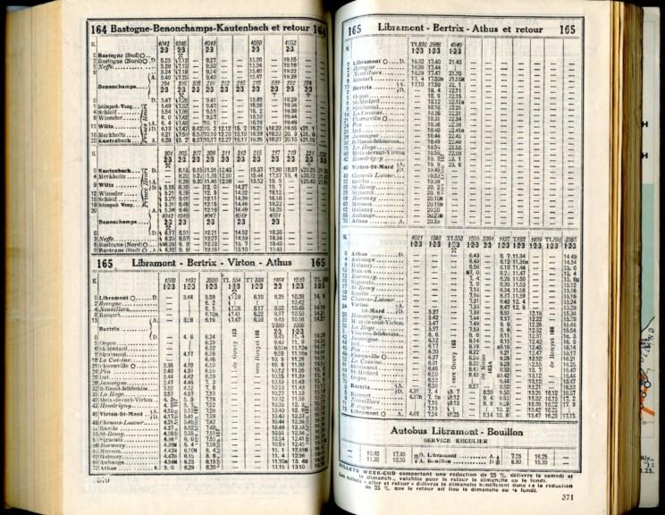 Ligne 164 - 165 (Horaire 1937)