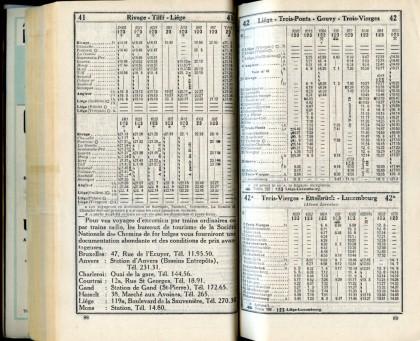 Lignes 41 - 42 - 42A (Horaire 1937)