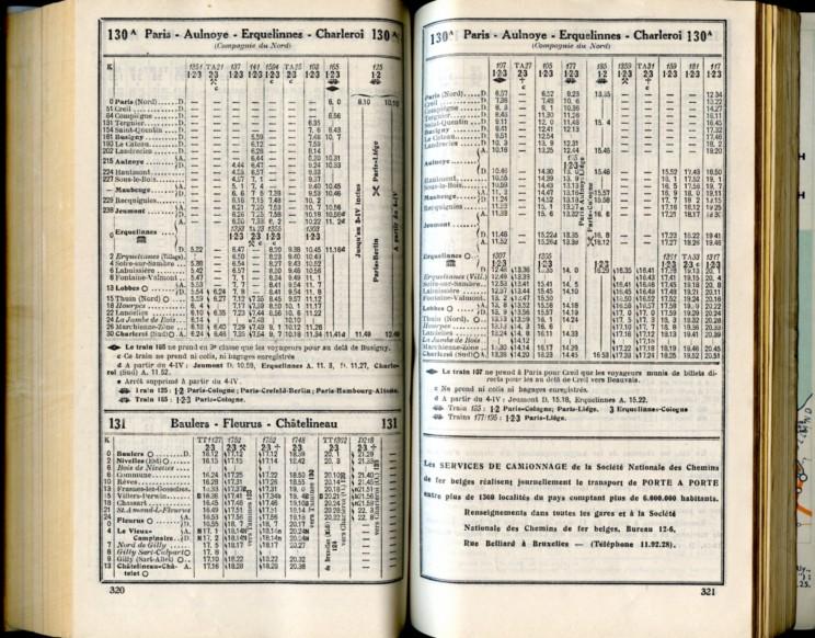 Lignes 130A - 131 (Horaires 1937)