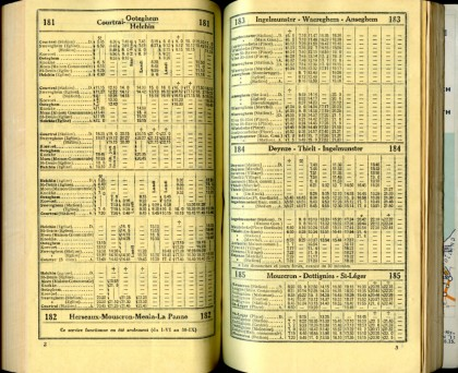 Lignes bus 181 - 182 - 183 - 184 - 185 (Horaires 1937)