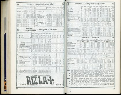 Horaire 1949 - Lignes 17, 18, 19 et 21